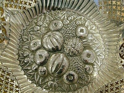 Large Antique Victorian Fruit Solid English Silver Hm1900 Pierced Dish Tray 867