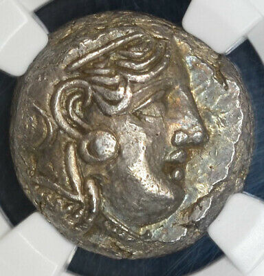 Attica Athens 393-294BC silver Tetradrachm NGC MS Ancient Greece Athena Owl