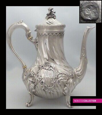 STUNNING ANTIQUE 1860s FRENCH FULL STERLING SILVER TEA/COFFEE POT Rococo style