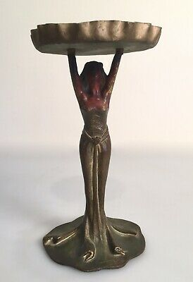 Antique Art Deco Art Nouveau Cast Brass Painted Woman Card Holder Ashtray Stand