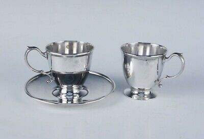 Antique 3pc Tiffany & Co Makers Sterling Silver Espresso Demitasse Cups & Saucer