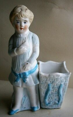 Antique Figural Bisque Match Holder - Little Girl Holding Box #1635 early 1900's