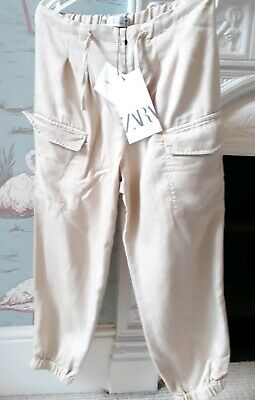 NEW Zara Girls Beige Cargo Pants Trousers - 7 Years