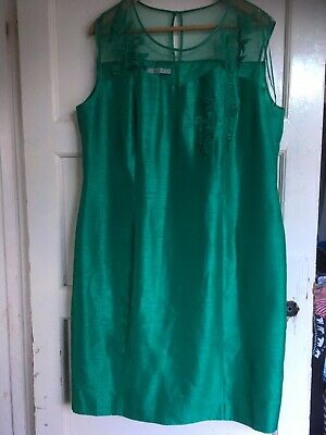 Jacques Vert Emerald Wedding Mother Of The Bride Dress size 20 VGC Beautiful