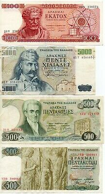 GREECE - 4  great   different   notes   100 / 500 / 500 / 5,000  drachmas