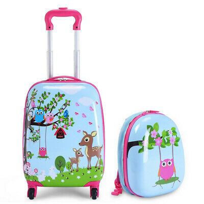 Luggage Suitcase Rolling Cute Animal Printed Set 2 Pcs School and Travelling