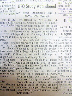 1969 newspaper US ENDS PROJECT BLUE BOOK to EXPLAIN UFO Flying Saucer sightings