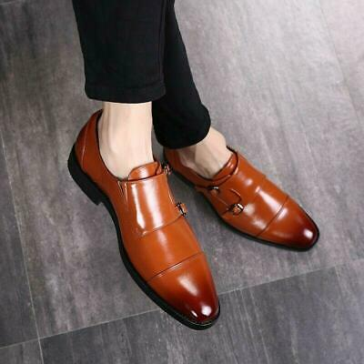 Mens Business Dress Formal Buckle Pointed Toe Leather Wedding Shoes Spring 2020