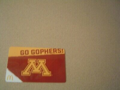 Minnesota Gophers McDonalds, Go Gophers Gift Card, ( Gift Card Only, 00 Amount)