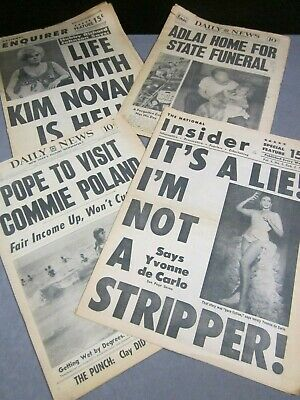 4 Tabloid Newspapers   National Insider 1964   NY Daily News 1965  Enquirer 1966