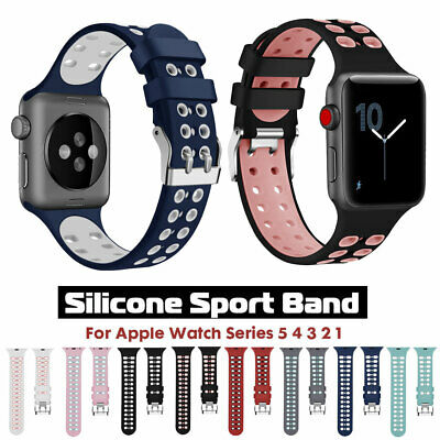Soft Silicone Sports iWatch Band Strap for Apple Watch 5 4 3 2 1 40/44mm 38/42mm