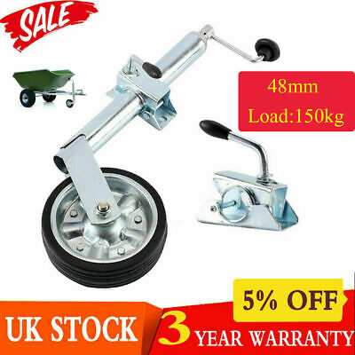 Heavy Duty 48mm Jockey Wheel +Split Clamp Steel Caravan Trailer Plant Container