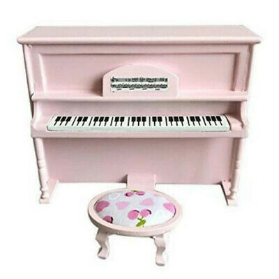 1:12 Dollhouse Miniature Furniture Wood Pink Piano Musical Instrument + Stool
