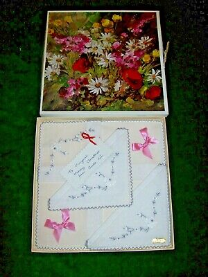 3 X c.1960 Boxed White  Embroidered  Cotton Handkerchiefs  by Marks & Spencer