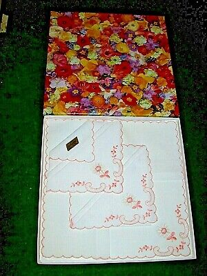 3 X c.1960 Boxed White  Embroidered  Cotton Handkerchiefs from Marks & Spencer