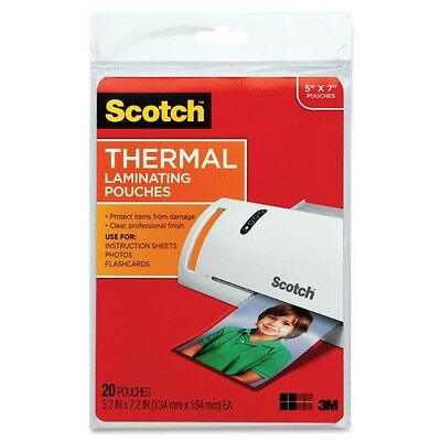 Scotch Photo size thermal laminating pouches, 5 mil, 7 1/4 x 5 3/8, 20/pack