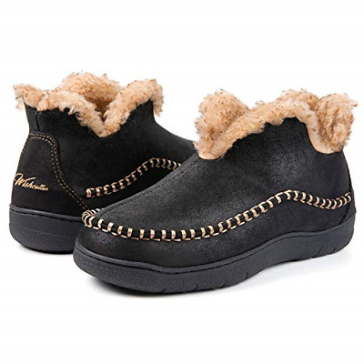 Wishcotton Men's Microsuede Fuzzy Warm Fleece Lining Moccasin Slippers Cozy Foam