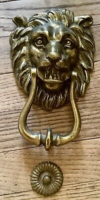 Vtg large old antique Solid Brass metal Lion Head Door Knocker