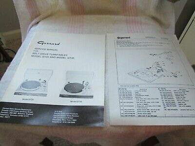 Garrard Original Service/Parts Manual. Model Gt-25/Gt-35. Turntable.used-England