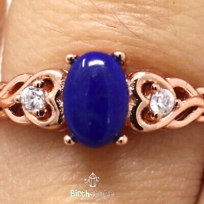 Antique 1Ct Natural Oval Blue Lapis Lazuli Ring Women Anniversary Jewelry Gift