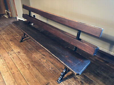 Old Victorian/Edwardian church/chapel pew/bench wrought iron frame 193 cm length