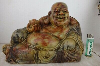 originaler alter HAPPY BUDDHA Marmor Stein GRAVIERT UNIKAT China ~1950 11kg 29cm