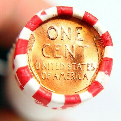 BU Penny Back Showing On End Of 50 Coin Circulated Wheat Cent Shotgun Roll