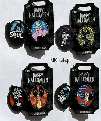 Disney Parks Limited Edition 4 Villains Pin Set 2019 Halloween Maleficent Jafar