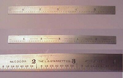 "Vintage L.S. Starrett Co. C309R 16 Grad 6"" Narrow 1/2"" Spring Tempered Rule"
