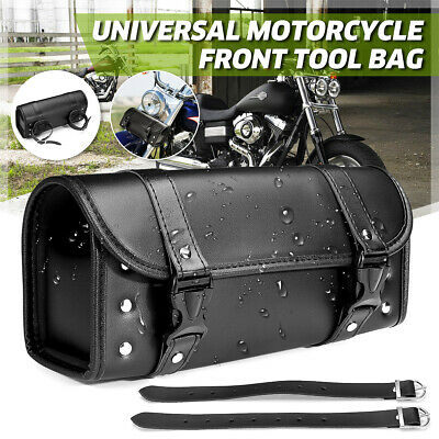 Universal Motorcycle Front Saddlebag PU Leather Fork Tool Bag Pouch Luggage ;