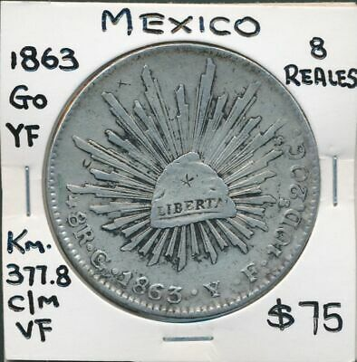 Mexico 1863 Go YF 8 Reales KM-377.8 Circulated in China Small Chopmarks VF