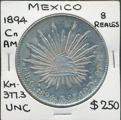 Mexico 1894 Cn AM 8 Reales KM-377.3 Circulated in China UNC Scarce