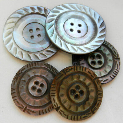 Lot of Smoky Carved Mother of Pearl Buttons Large Pair and Set of 3