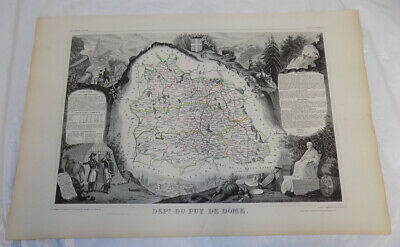 1856 Map/FRANCE, DEPT. DU PUY DE DOME/Political Division/Outstanding Graphics