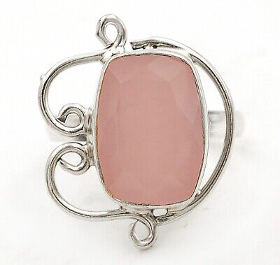 Buy Now Faceted Rose Quartz 925 Solid Sterling Silver Ring Jewelry Sz 6.5