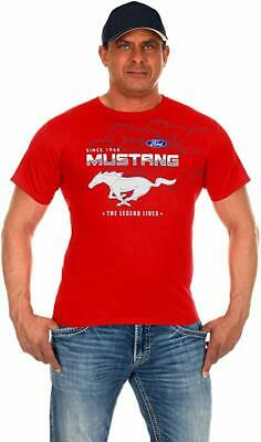 Men's Ford Mustang T-Shirt Red 2-sided Car Logos Ford Licensed MUS803CLG0RED
