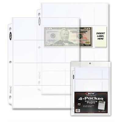 BCW 20 Archival 4 Pocket Pages For Modern Currency Fits 3 Ring Binder/Album NEW