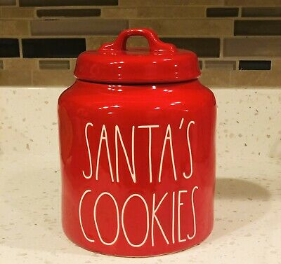 Rae Dunn By Magenta SANTA'S COOKIES Red Canister Christmas Holiday Gift 2019 HTF