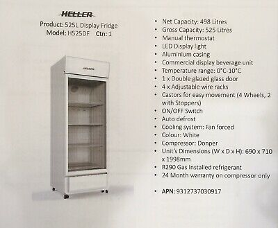 Heller 525L Commercial Display Fridge