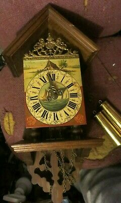 """vintage Holland Dutch Wuba 21"""" Tall Wall Clock with hand painted dial wood  case"""