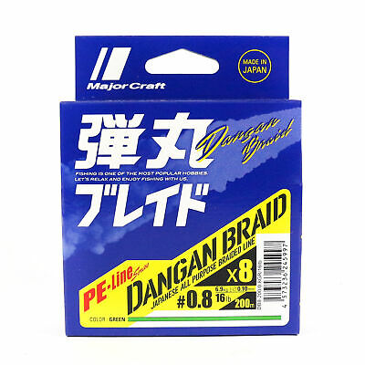 Major Craft Dangan Braided Línea X8 200m P.E 0.8 Green DB8-200/0.8GR/16lb (5997)