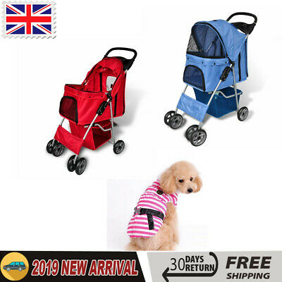 Pet Travel Stroller Dog Puppy Cat Pushchair Pram Folding Jogger Buggy Wheels