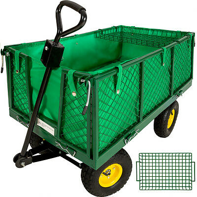 Wheelbarrow Garden Mesh Cart Trolley Utility Cart Tipper Dump + cargo platform