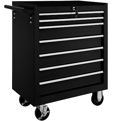 Tool cabinet cart workshop wheel trolley tray ball bearing slides 7 drawer black