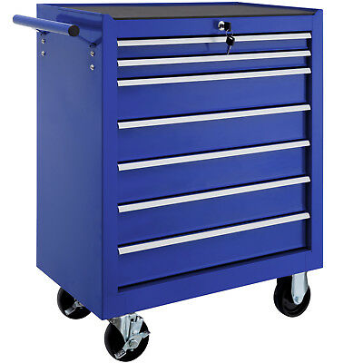 Tool cabinet cart workshop wheel trolley tray ball bearing slides 7 drawer blue