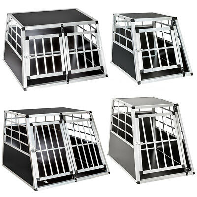 Dog Pet Transport Transportation Aluminium Carrier Box Cages Crate Car Travel