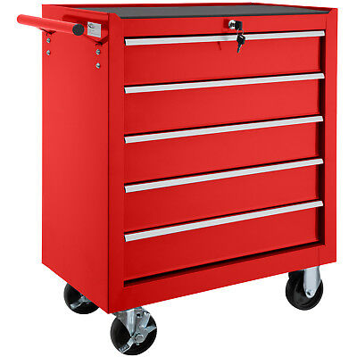 Tool cart 5 drawer workshop trolley tools cabinet steel chests box roller red