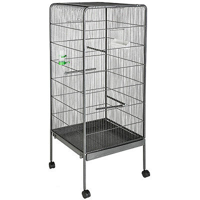 Large bird aviary cage on wheels silver anthracite steel 146cm high parrot birds