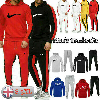 Mens Full Tracksuit Set Fleece Hoodie Top Bottoms Sportswear Gym Jogger Trackies