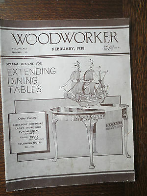 Woodworker Magazine February 1938 Vintage Old Dining Table Refectory Cupboard